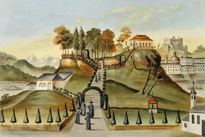 Bürgelstein, Salzburg, View of Gloriette and Seminarians, Engraving 18th Century