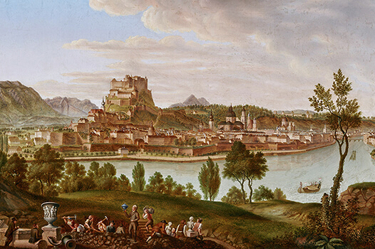View of Salzburg from Bürglstein, Painting by Johann Michael Sattler, ca. 1823