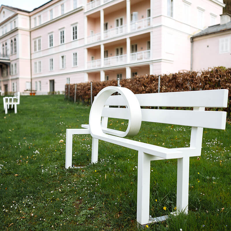 "Würth Sculpture Garden at Schloss Arenberg, ""Modified Social Bench #5"" by Jeppe Hein, 2005, Würth Collection"